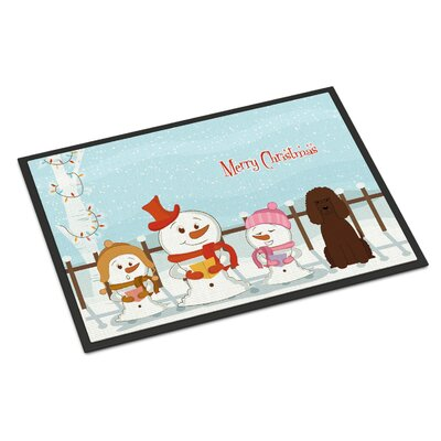 Merry Christmas Carolers Irish Water Spaniel Doormat Rug Size: Rectangle 2 x 3
