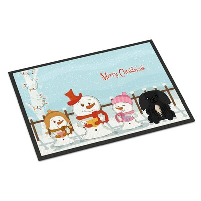 Merry Christmas Carolers Pekingnese Doormat Mat Size: Rectangle 2 x 3