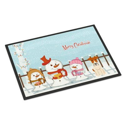 Merry Christmas Carolers Wire Fox Terrier Doormat Rug Size: 2 x 3