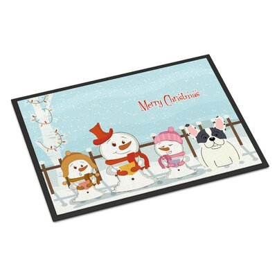 Merry Christmas Carolers French Bulldog Piebald Doormat Mat Size: Rectangle 2 x 3