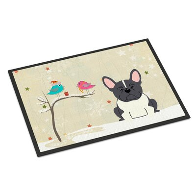 Christmas Presents Between Friends French Bulldog Doormat Mat Size: Rectangle 2 x 3