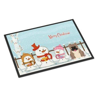Merry Christmas Carolers English Bulldog Doormat Rug Size: 2 x 3