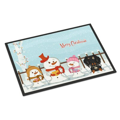 Merry Christmas Carolers Wire Haired Dachshund Dapple Doormat Mat Size: Rectangle 2 x 3