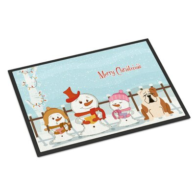 Merry Christmas Carolers English Bulldog Doormat Rug Size: 2 x 3