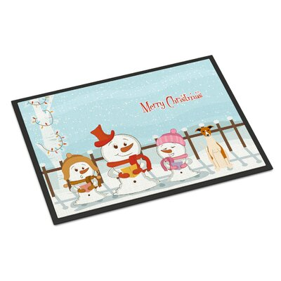 Merry Christmas Carolers Whippet Doormat Rug Size: 2 x 3