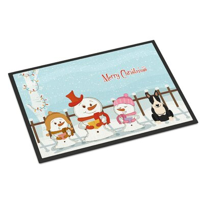 Merry Christmas Carolers Bull Terrier Doormat Mat Size: Rectangle 2 x 3