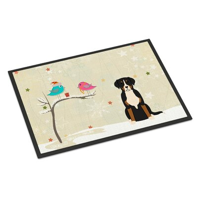 Christmas Presents Between Friends Greater Swiss Mountain Dog Doormat Mat Size: Rectangle 2 x 3