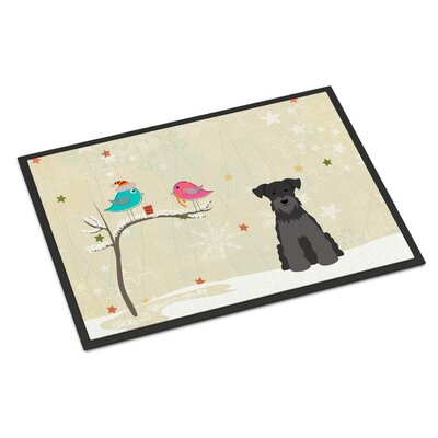Christmas Presents Between Friends Miniature Schnauzer Doormat Rug Size: Rectangle 16 x 23, Color: Black