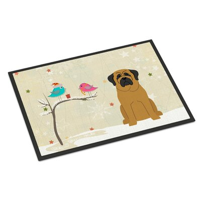 Christmas Presents Between Friends Mastiff Doormat Mat Size: Rectangle 2 x 3, Color: Brown