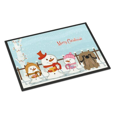 Merry Christmas Carolers Pekingnese Doormat Mat Size: Rectangle 2' x 3'