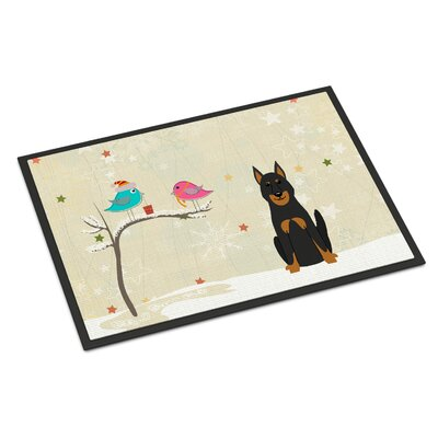 Christmas Presents Between Friends Beauce Shepherd Dog Doormat Mat Size: Rectangle 2 x 3