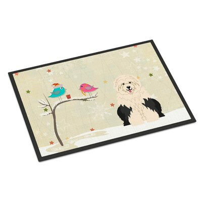 Christmas Presents Between Friends Old English Sheepdog Doormat Mat Size: Rectangle 2 x 3