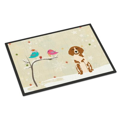Christmas Presents Between Friends Brittany Spaniel Doormat Mat Size: Rectangle 2 x 3