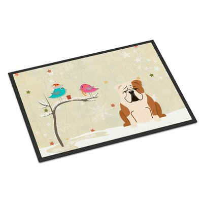 Christmas Presents Between Friends English Bulldog Doormat Mat Size: Rectangle 2 x 3