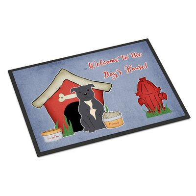 Dog House Stafford Shire Bull Terrier Doormat Rug Size: Rectangle 2 x 3, Color: Blue
