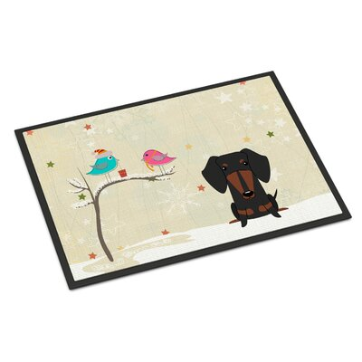 Christmas Presents Between Friends Dachshund Doormat Mat Size: Rectangle 2 x 3