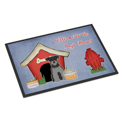 Dog House Miniature Schnauzer Doormat Rug Size: Rectangle 2 x 3, Color: Black/Silver