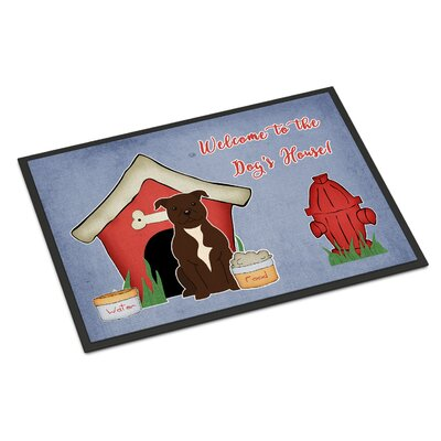 Dog House Stafford Shire Bull Terrier Doormat Rug Size: Rectangle 2' x 3', Color: Chocolate