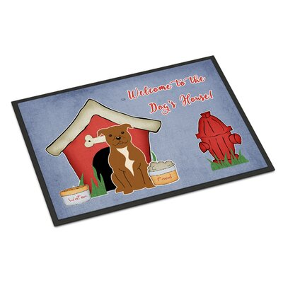 Dog House Stafford Shire Bull Terrier Doormat Rug Size: 16 x 23, Color: Brown