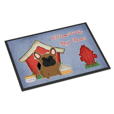 Dog House French Bulldog Doormat Rug Size: Rectangle 2 x 3