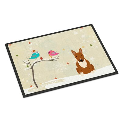 Christmas Presents Between Friends Bull Terrier Doormat Mat Size: Rectangle 2 x 3