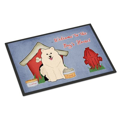 Dog House Samoyed Doormat Rug Size: 2 x 3