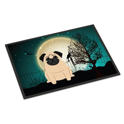 Halloween Scary Pug Doormat Mat Size: Rectangle 2 x 3, Color: Fawn