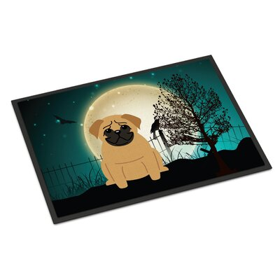 Halloween Scary Pug Doormat Rug Size: Rectangle 2 x 3, Color: Brown