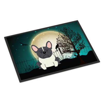Halloween Scary French Bulldog Doormat Mat Size: Rectangle 16 x 23, Color: Black / White