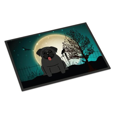 Halloween Scary Pug Doormat Mat Size: Rectangle 2 x 3, Color: Black