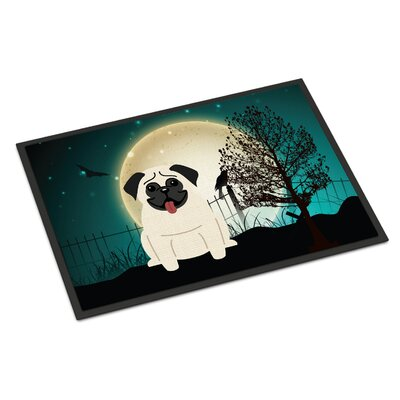 Halloween Scary Pug Doormat Rug Size: 2 x 3, Color: Cream