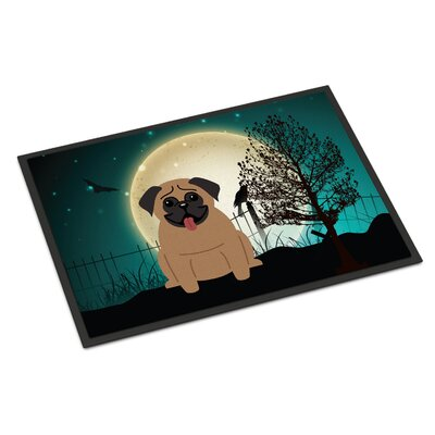 Halloween Scary Pug Doormat Mat Size: Rectangle 2 x 3, Color: Brown