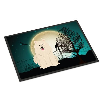 Halloween Scary Samoyed Doormat Rug Size: 16 x 23