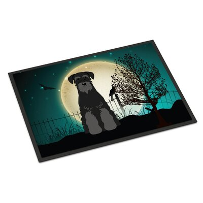Halloween Scary Standard Schnauzer Doormat Mat Size: Rectangle 2 x 3, Color: Black/Gray
