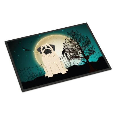 Halloween Scary Mastiff Doormat Rug Size: Rectangle 2 x 3, Color: White