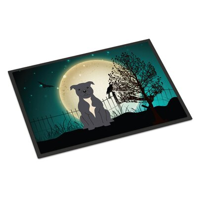 Halloween Scary Stafford Shire Bull Terrier Doormat Rug Size: 2 x 3, Color: Blue