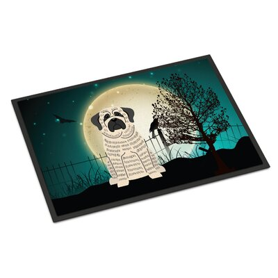 Halloween Scary Mastiff Doormat Mat Size: Rectangle 2 x 3, Color: Brindle / White