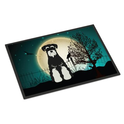 Halloween Scary Standard Schnauzer Doormat Rug Size: Rectangle 16 x 23, Color: Black