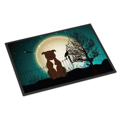 Halloween Scary Stafford Shire Bull Terrier Doormat Rug Size: Rectangle 2 x 3, Color: Chocolate