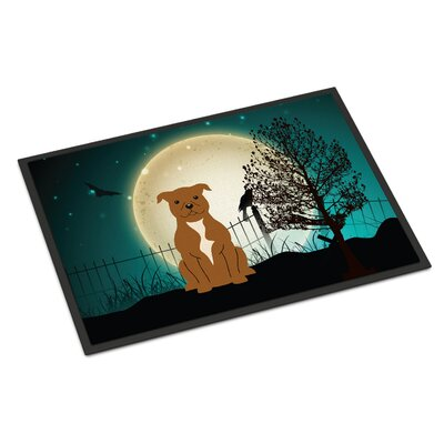 Halloween Scary Stafford Shire Bull Terrier Doormat Mat Size: Rectangle 16 x 23, Color: Brown