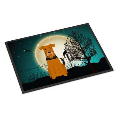 Halloween Scary Airedale Doormat Rug Size: Rectangle 16 x 23