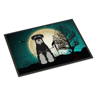 Halloween Scary Standard Schnauzer Doormat Rug Size: Rectangle 16 x 23, Color: Salt/Papper