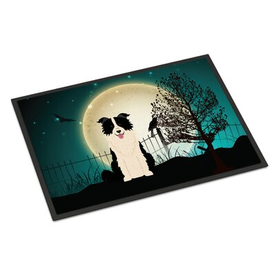 Halloween Scary Border Collie Doormat Mat Size: Rectangle 16 x 23, Color: Black/White