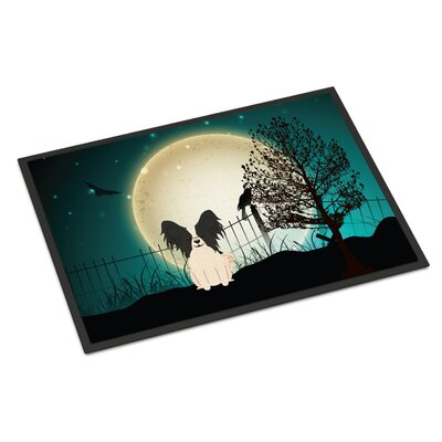 Halloween Scary Papillon Doormat Mat Size: Rectangle 16 x 23, Color: Black/White