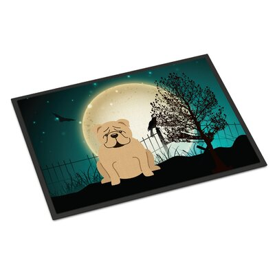 Halloween Scary English Bulldog Doormat Mat Size: Rectangle 2 x 3, Color: Fawn