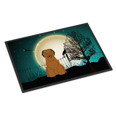 Halloween Scary Briard Doormat Mat Size: Rectangle 16 x 23, Color: Brown