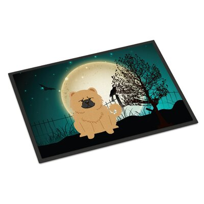 Halloween Scary Chow Chow Doormat Rug Size: 2 x 3, Color: Cream