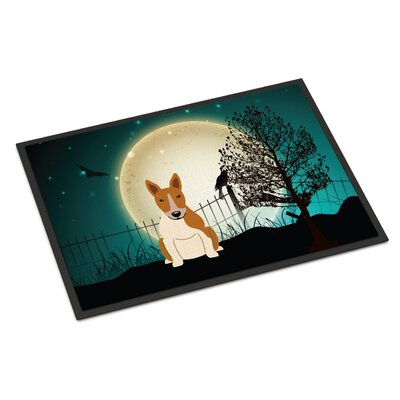 Halloween Scary Bull Terrier Doormat Mat Size: Rectangle 2 x 3, Color: Red / White