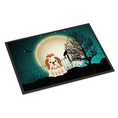Halloween Scary Shih Tzu Doormat Rug Size: Rectangle 16 x 23, Color: Red/White