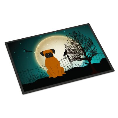 Halloween Scary Boxer Doormat Mat Size: Rectangle 16 x 23, Color: Fawn